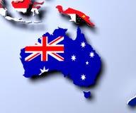 3D flag map of Australia render Stock Photos