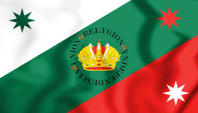 3D Flag of Mexican Regency First Flag of the Mexican Empire. Royalty Free Stock Images