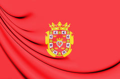 3D Flag of Murcia City, Spain. Stock Photo