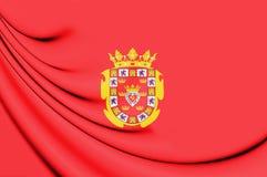 3D Flag of Murcia City, Spain. 3D Illustration Stock Photo
