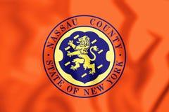 3D Flag of Nassau County & x28;New York& x29;, USA. Stock Image
