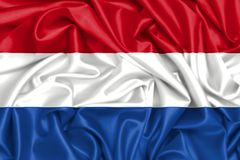 3d flag of Netherlands in the wind. 3d flag of Netherlands, silk fabric texture background in the wind Royalty Free Stock Photography