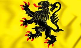 3D Flag of Nord-Pas-de-Calais, France. Royalty Free Stock Photo