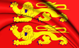 3D Flag of Normandy, France. Royalty Free Stock Images