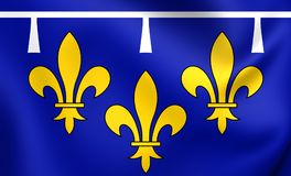3D Flag of Orleanais, France. Royalty Free Stock Images