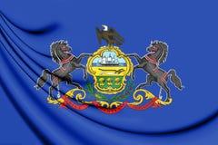 3D Flag of Pennsylvania, USA. Stock Image