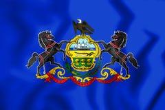3D Flag of Pennsylvania, USA. Stock Photo