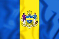 3D Flag of Philadelphia Pennsylvania, USA. Stock Photos