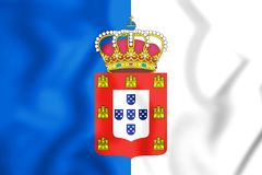 3D Flag of the Portugal 1830-1910. 3D Illustration stock illustration