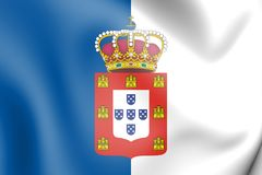 3D Flag of Portugal 1830-1910. 3D Illustration royalty free illustration