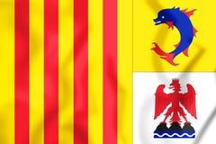 3D Flag of Provence-Alpes-Cote d`Azur, France. Stock Image