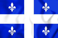 3D Flag of Quebec Province. Royalty Free Stock Photo