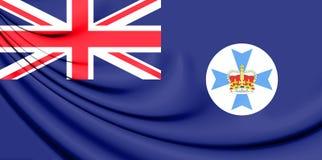 3D Flag of Queensland, Australia. Stock Photo