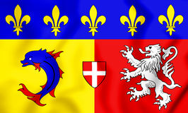 3D Flag of Rhone-Alpes, France. Stock Photography