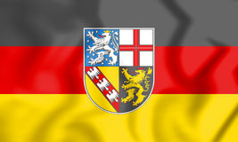 3D Flag of Saarland, Germany. Royalty Free Stock Photos