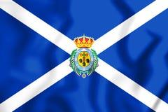 3D Flag of Santa Cruz de Tenerife Province, Spain. Royalty Free Stock Photography