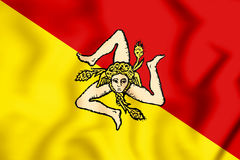 3D Flag of Sicily, Italy. Stock Images