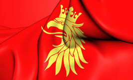 Flag of Skane, Sweden. 3D Flag of Skane, Sweden. Close Up Royalty Free Stock Image