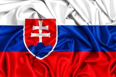 3d flag of Slovakia waving in the wind Stock Photography