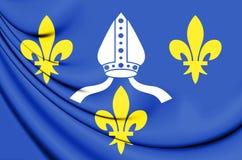 3D Flag of Strasbourg, France. Stock Image