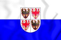 3D Flag of Trentino-Alto Adige, Italy. Stock Photo