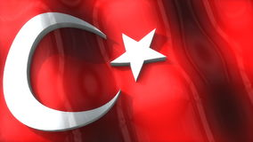 3D flag, Turkey, waving, ripple, Europe. stock footage
