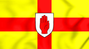 3D Flag of Ulster Province, Ireland. Stock Image