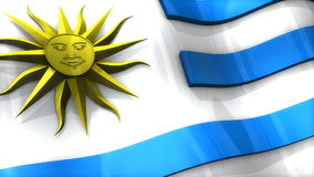 3D flag, Uruguay, waving, ripple, South America. stock footage