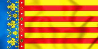 3D Flag of Valencian Community, Spain. 3D Illustration Stock Photography