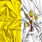 3d flag of Vatican city waving in the wind. Papal state texture fabric background royalty free illustration