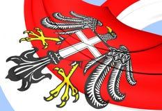 Flag of Vienna, Austria. 3D Flag of Vienna, Austria. Close Up stock illustration