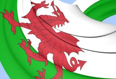 Flag of Wales. 3D Flag of the Wales. Close Up Stock Illustration