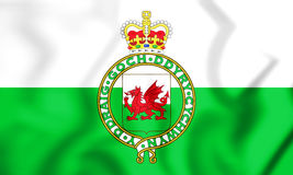 3D Flag of the Wales & x28;1953-1959& x29;. Stock Photos