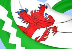Flag of Westland, Netherlands. 3D Flag of the Westland, Netherlands. Close Up Stock Photo