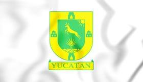 3D Flag of Yucatan State, Mexico. Stock Photos