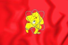 3D Flag of Zheleznogorsk & x28;Krasnoyarsk krai& x29;, Russia. Stock Photo