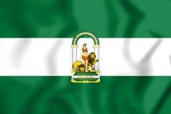 3D flaga Andalusia, Hiszpania Obraz Royalty Free