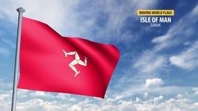 3D flaga animacja wyspa mężczyzna ilustracja wektor
