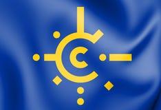 3D flaga centrala - europejski umowa o wolnym handlu royalty ilustracja