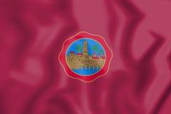 3D flaga cordoby miasto Andalusia, Hiszpania Fotografia Stock