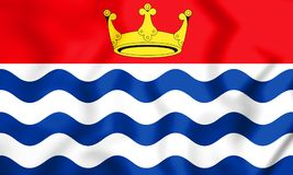 3D flagga av den större London regionen, England vektor illustrationer