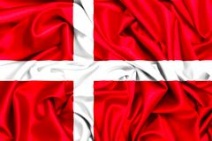 3d flagga od Danmark som vinkar i vinden vektor illustrationer