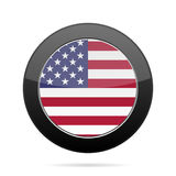 3d flagga USA Skinande svartrundaknapp Arkivbild
