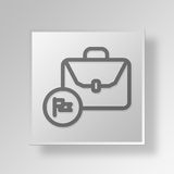 3D flagged briefcase icon Business Concept Stock Photography
