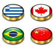 3D flags button Stock Image