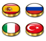 3D flags button Royalty Free Stock Photos