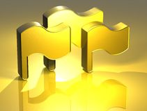 3D Flags Gold Sign. Over yellow background Royalty Free Stock Photo