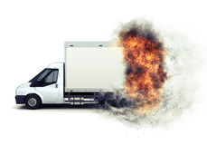 3D flat bed van with fiery speed effect Royalty Free Stock Photography