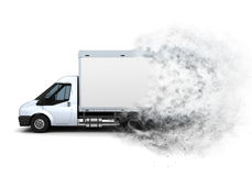 3D flat bed van with speed effect Stock Photography