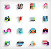 3d flat geometric abstract business icon set Stock Images